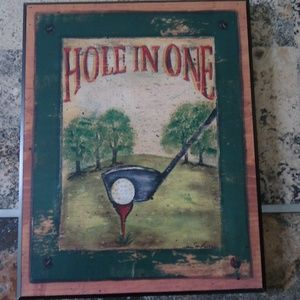 "Golf Wall Decor Picture Plaque HOLE IN ONE 10""x8"""